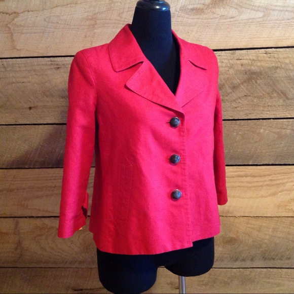 Red Linen Blend Swing Jacket 10 Talbot's Blazer